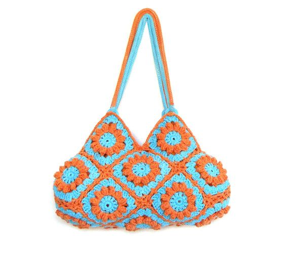 Flower Crochet Bag : Flower crochet purse in turquoise and orange, crochet bag, shoulder b ...