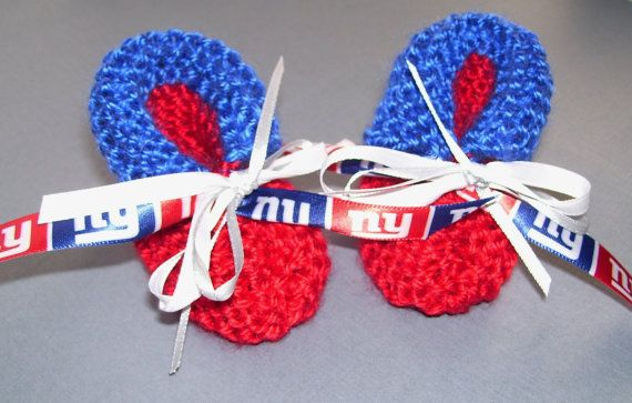 New York GIANTS Football Fans Handmade Baby Booties by ZZsTeamTime, $10.00