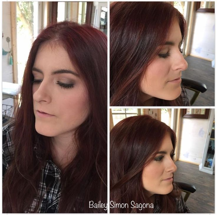 Natural and soft makeup and red violet hair #periwinklebeautystudio #oway