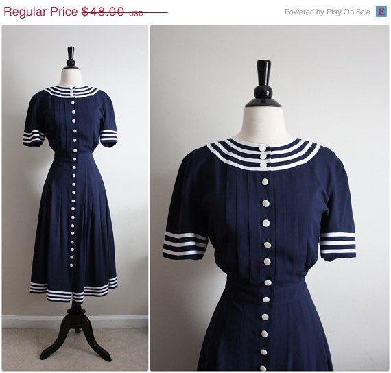 30 OFF SALE.. Vintage 80s Sailor Pin up Dress. by PARASOLvintage, $33.60
