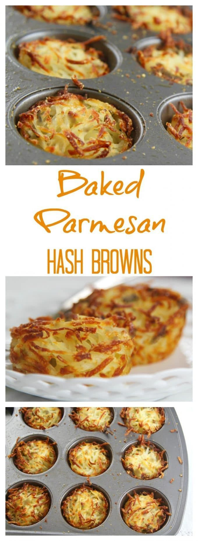 Easy BAKED Parmesan Hash Browns in muffin tins.