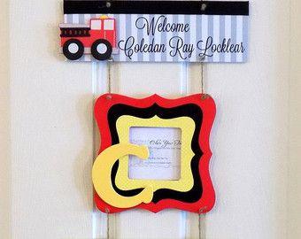 Welcome Baby Boy Firefighter Red, Yellow & Black Hospital Door Hanger - Hospital Baby Sign - Baby Door Hanger - Nursery Hanger