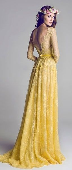 Yellow lace bridal dress.