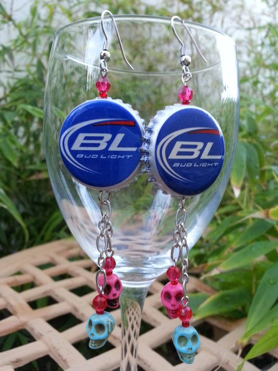 Budlight beer cap earring with skulls and gears now available at our etsy shop.