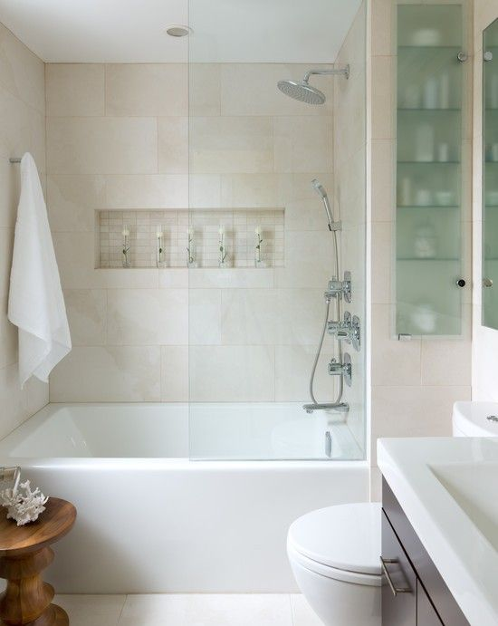 How-To DIY Article | 11 Simple DIY Ways To Make Your Small Bathroom Look BIGGER | Designer: National Bathrooms -Image Source: Eternal Icons | CLICK TO ENJOY... http://carlaaston.com/designed/11-easy-ways-to-make-a-small-bathroom-look-bigger (KWs: mirror, cabinet, closet, lighting)
