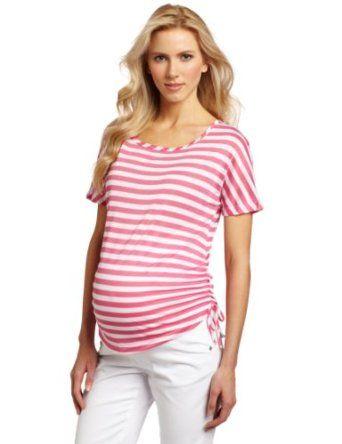 Three Seasons Maternity Women's Maternity Dolman Stripe Side Tie Rouche Top, Pink White Stripe, X-Large Three Seasons Maternity. $34.00