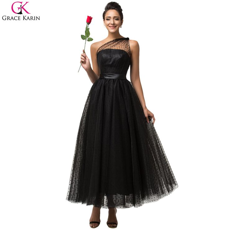 Grace Karin Prom Dresses Sleeveless Gothic Vintage Black One Shoulder Formal Gowns Masquerade Tulle Tea Length Puffy Prom Dress
