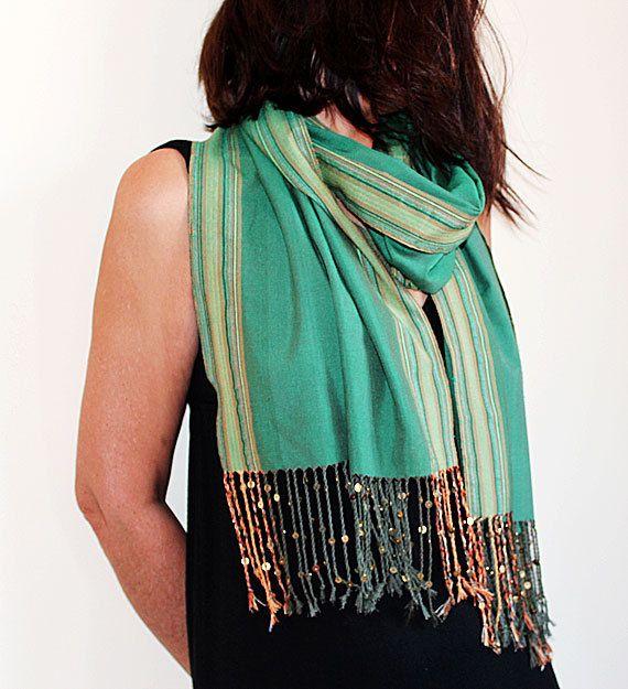 Emerald Green Tribal Cotton Scarf   Bohemian  by aynurdereli, $32.00