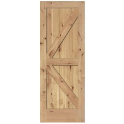 Steves Sons 24 In X 84 In 2 Panel Solid Core Unfinished Knotty Alder Interior Barn Door Slab