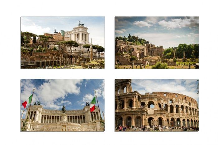 """Oryginalne gotowe magnesy na lodówkę Classic wzór """"Rome""""    Zdjęcia drukowane są w formie klasycznych prostokątnych zdjęć.  Komplet zawiera 4 szt. gotowych magnesów, wzór """" Rome"""" w rozmiarze 8 x 5 cm  Magnesy pokrywane są zabezpieczającym laminatem dzięki temu są trwałe i służą przez lata."""