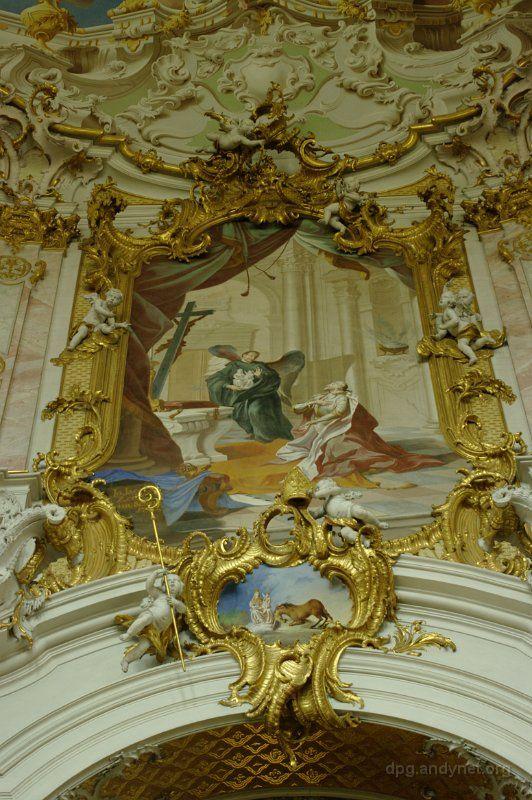 Benedikt übergibt Kaiser Ludwig dem Bayern das Marienbild