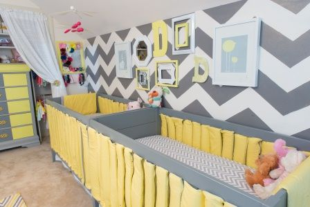 This chevron accent wall is so fantastic in this twins nursery! #nursery #chevron #twinsAccent Wall