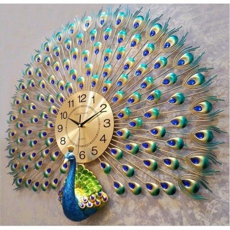 Art makeup peacock living room luminous quartz electronic watch clock Wall DecoKristy Conroy