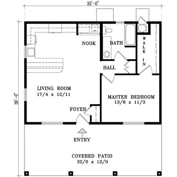 Cabin Style House Plan - 1 Beds 1 Baths 768 Sq/Ft Plan #1-127 Floor Plan - Main Floor Plan - Houseplans.com