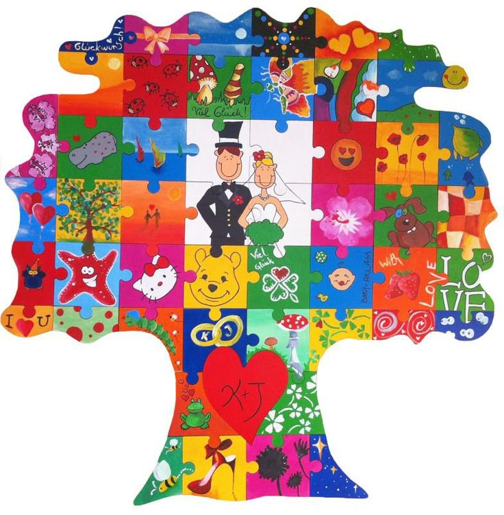 Holzpuzzle in Baumform      Großes Puzzle : ideal als Hochzeitsgeschenk oder  Hochzeitsspiel.     Set:  inklusive  10 Acrylfarben und Pinsel .    Puzzle-Teile:  51 Teile zum Bemalen.    Material:  Holz.     Ein kreative und...