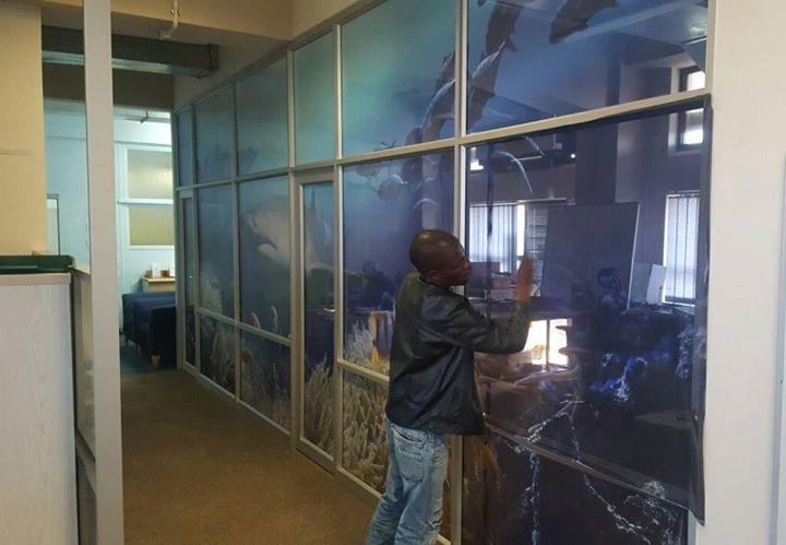 Library Glass Art by Mzansi Signs - using SFF Dot Matrix film & Design Studio#MzansiSigns#DotMatrixfilm#DesignStudio#DesignStudioDurban
