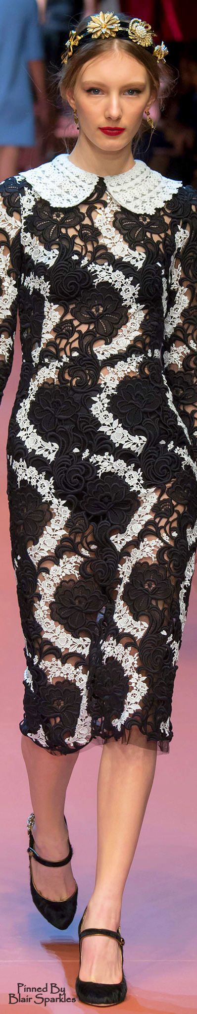 Fall 2015 RTW Dolce & Gabbana  ♕♚εїз | BLAIR SPARKLES black and white lace dress.  women fashion outfit clothing stylish apparel @roressclothes closet ideas