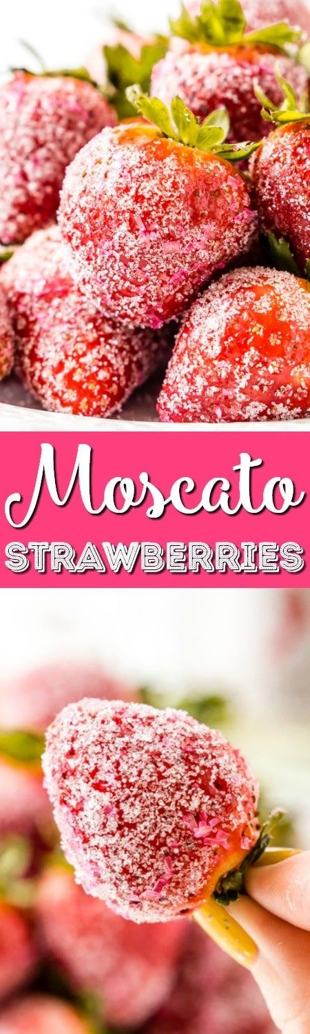 These Moscato Strawberries are a simple 3-ingredient recipe made with pink Moscato champagne, fresh juicy strawberries, and sugar! An easy dessert for NYE, Oscar parties, Valentine's Day, Bridal Showers, and more!