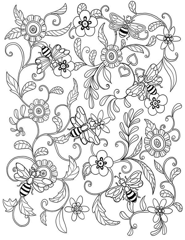 bee flower coloring colouring printable adult advanced detailed pour me donner