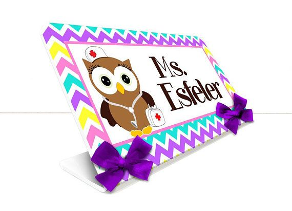 personalized nurse office desk name plate owls decor chevron