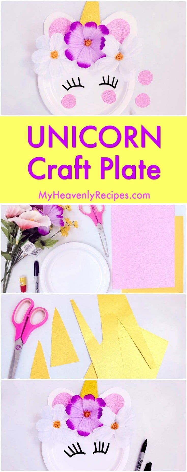 This Unicorn Craft Plate is THE cutest unicorn craft project and unicorn DIY project! If your kids love unicorns or if you're hosting a unicorn birthday party, this is the unicorn craft to make. #unicorn #unicorncraft #unicornideas #kidcrafts #crafts #diy via @heavenlyrecipe