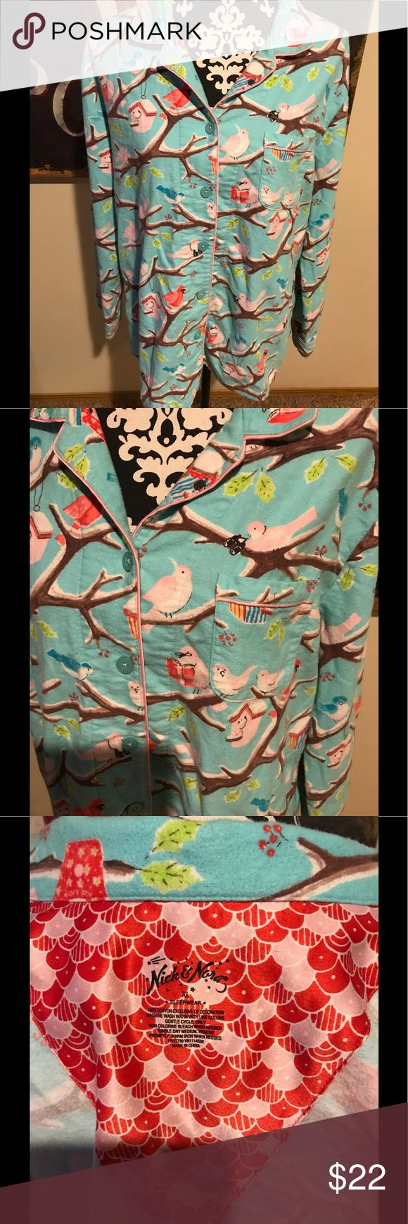Nick And Nora pajama set XL Nick And Nora pajama set 100% cotton Size XL Light blue background featuring birds, bird houses and bird watching Pajamas are super cute and in excellent condition! Nick & Nora Intimates & Sleepwear Pajamas