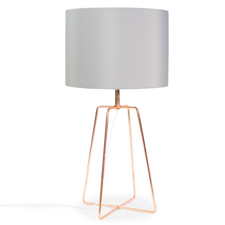 CROSSY COPPER metal lamp with grey ...