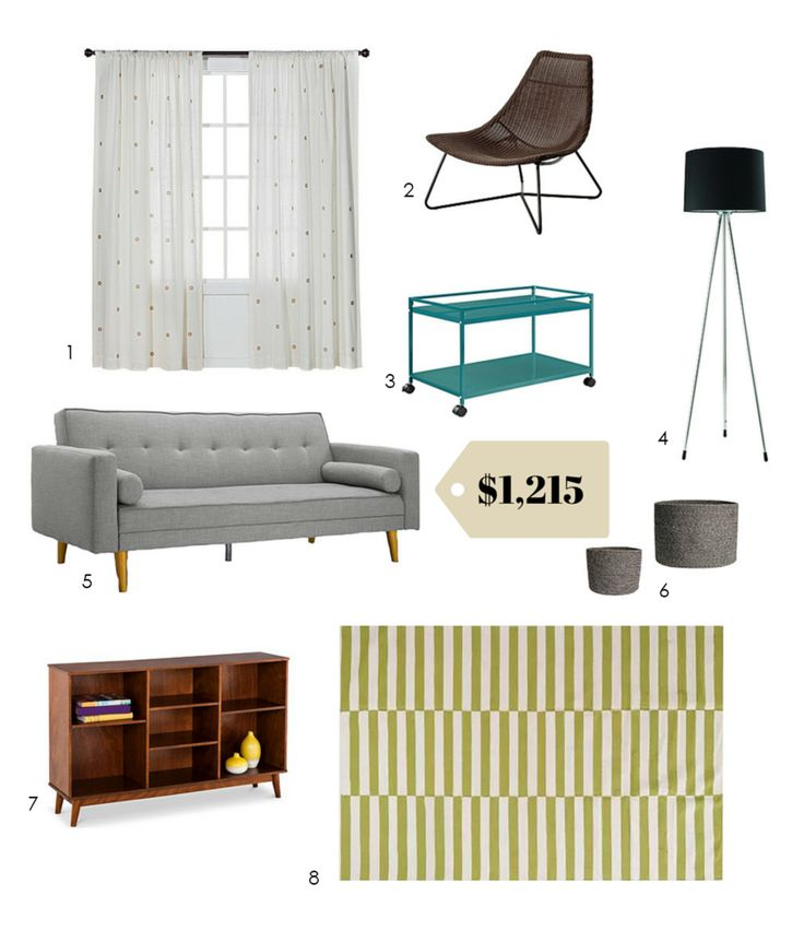 It's still a lot when you're on a budget, but here's an example of the basics of a whole stylish living room for a little more than a thousand dollars.