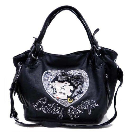 Betty Boop Black Bow Embroidered Rhinestone Heart Sequins Shoulder L Bag Purse Allofpurses Bettyboop