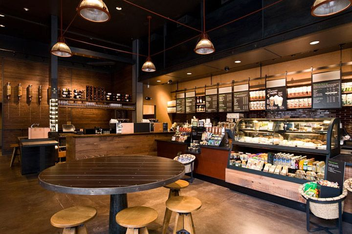 Vintage Industrial Style with Wood Furniture Interior Starbucks Coffee Shop in Portland - The Best Starbucks Coffee Shop Interior Arround Th...