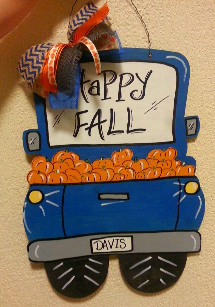 Fall Wooden Door Hanger • Truck Wooden Door Hanger • Pumpkin Door Hanger • Happy…