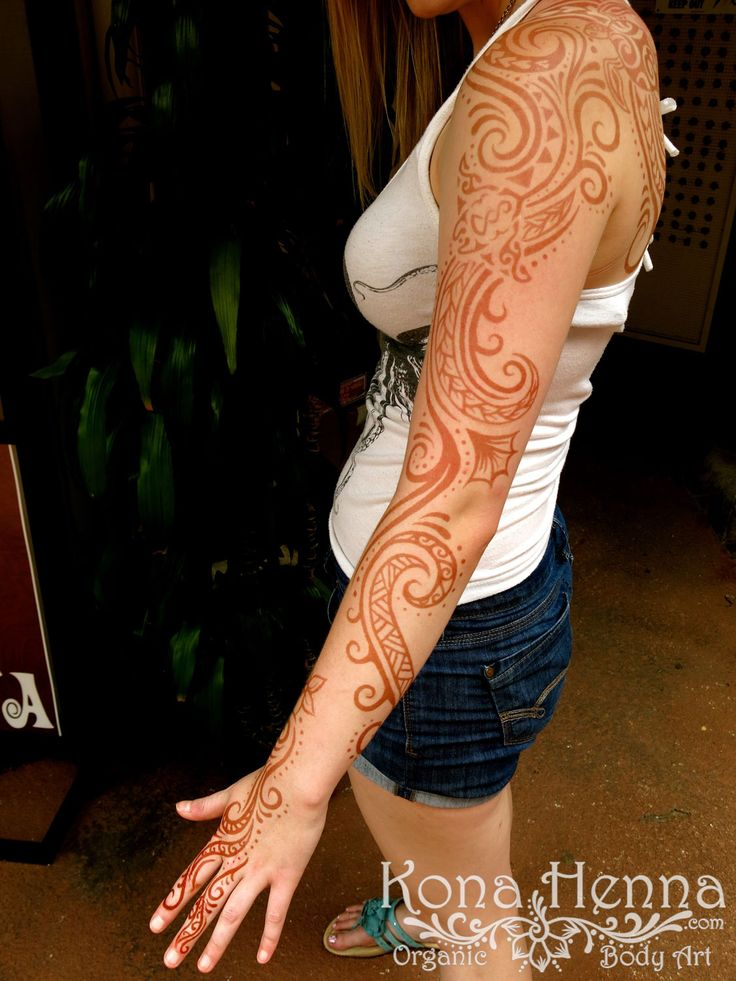 Kona Henna Studio - Polynesian Tribal Sleeve with Manta Ray. 18 hour stain.