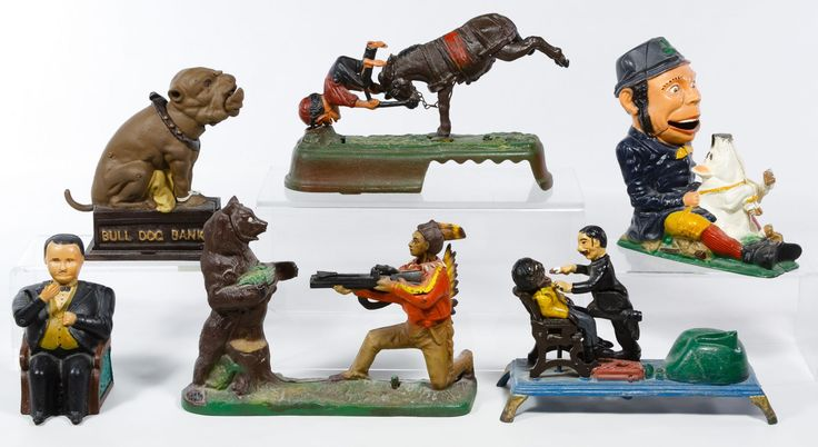 """Lot 465: Reproduction Cast Iron Mechanical Bank Assortment; Six items reproduced from the """"Book of Knowledge"""" collection including a bull dog and Tammany Hall"""