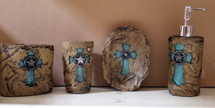 Western Rustic Turquoise Cross on Stone Bathroom Vanity Set