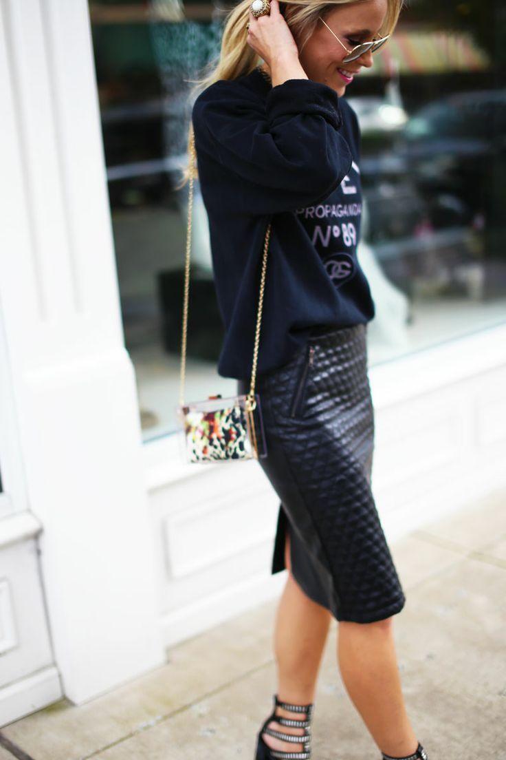 Street Style Leatherskirt Pinterest