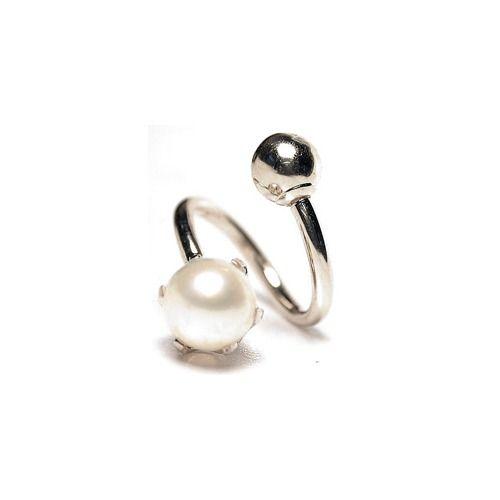 FreshTrends Genuine Prong-Set Pearl Solid 14kt White Gold Twister / Spiral Barbells 18G - 14G at FreshTrends.com