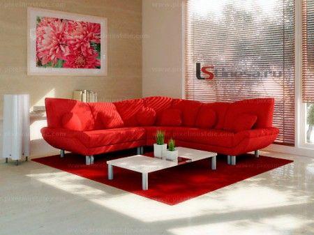 Красный диван в интерьере