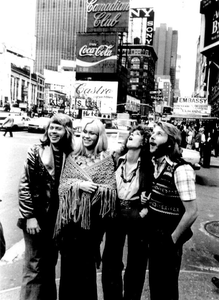 ABBA in Times Square, NYC. Why do I think they were directed, cheesily? (Anni-Frid & Benny on the right). :)
