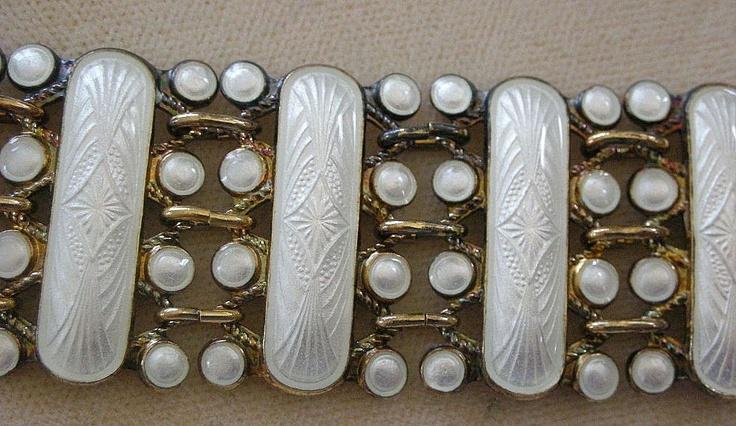Exceptional Vintage Guilloche Enamel on Sterling Bracelet Norway Arne Nordlie