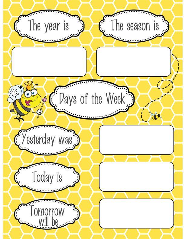 Calendar Poster For Classroom : Bees classroom decor calendar set bee theme and