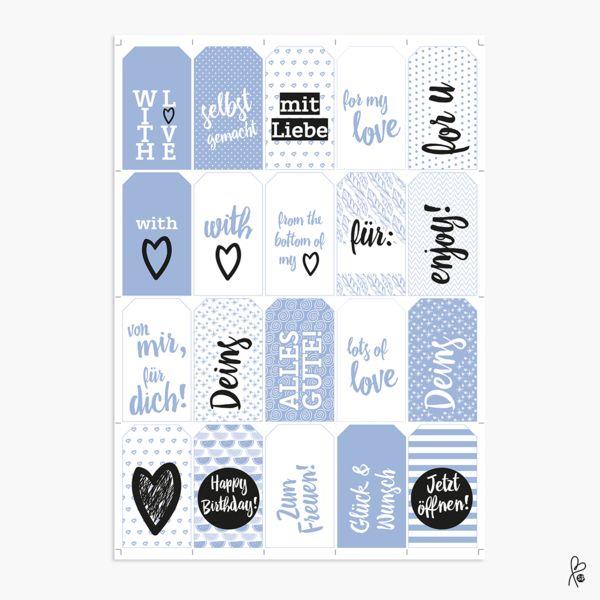 Geschenkanhänger - Geschenkanhänger blau  / Printable A4 - ein Designerstück von sppiy bei DaWanda