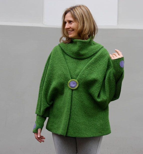 Light green poncho with cowl decorated mandala by tiamebytimea