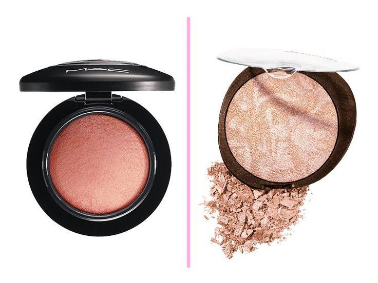 Pó iluminador: MAC Soft and Gentle Mineralize Blush: R$ 121,00 no site da Sephora. Pó Iluminador Marmorizado Natura Aquarela:  R$ 47,90 no site da marca.