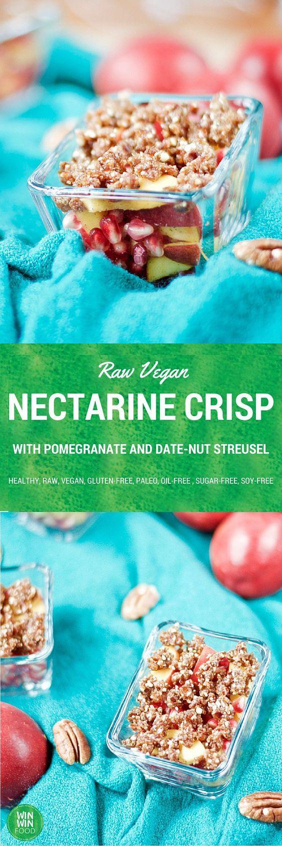 Raw Nectarine Crisp | WIN-WINFOOD.com #healthy #raw #paleo and #glutenfree treat for the summer