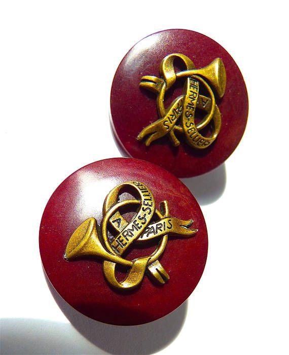 Set of 2 HERMES Buttons Auth Vintage Hermes Buttons XL Size