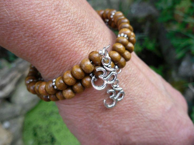 Om brown wood bead wrap #bracelet aum ohm yoga #mantra meditation #namaste,  View more on the LINK: http://www.zeppy.io/product/gb/2/201770214104/