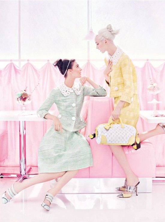 Kati Nescher & Daria Strokous photographed by Steven Meisel for Louis Vuitton Spring/Summer 2012 campaign
