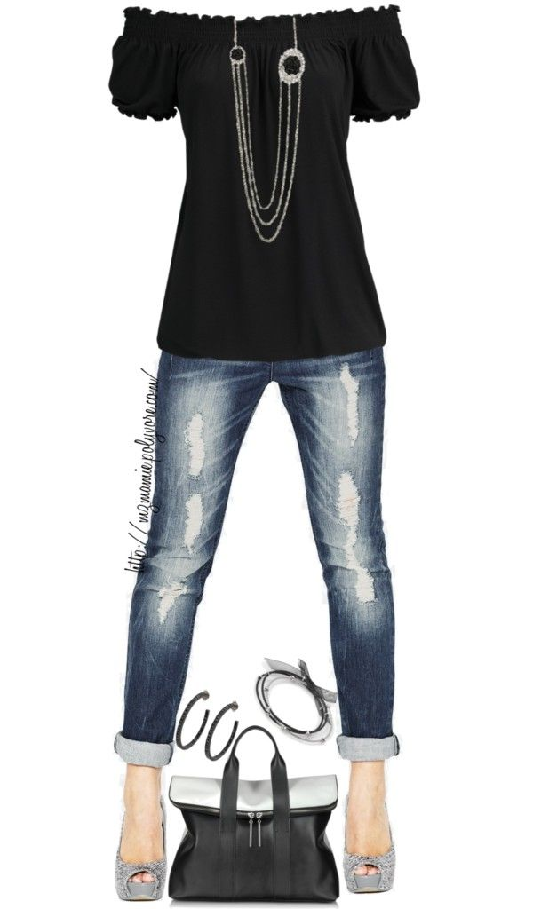 """Untitled #801"" by mzmamie on Polyvore - I really just like the black peasant style top. I think I would like it better w/skinny jeans & black or silver flats or w/wide leg jeans & black boots"