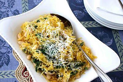 Spaghetti Squash Recipe with Spinach, Feta & Basil White Beans by CookinCanuck,