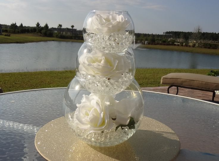 131 best aniqua and blake wedding images on pinterest belle bliss i like this centerpiece idea you could have each level be slightly different pearlsrhinestones flowers candles etc diy wedding centerpieces like this junglespirit Images